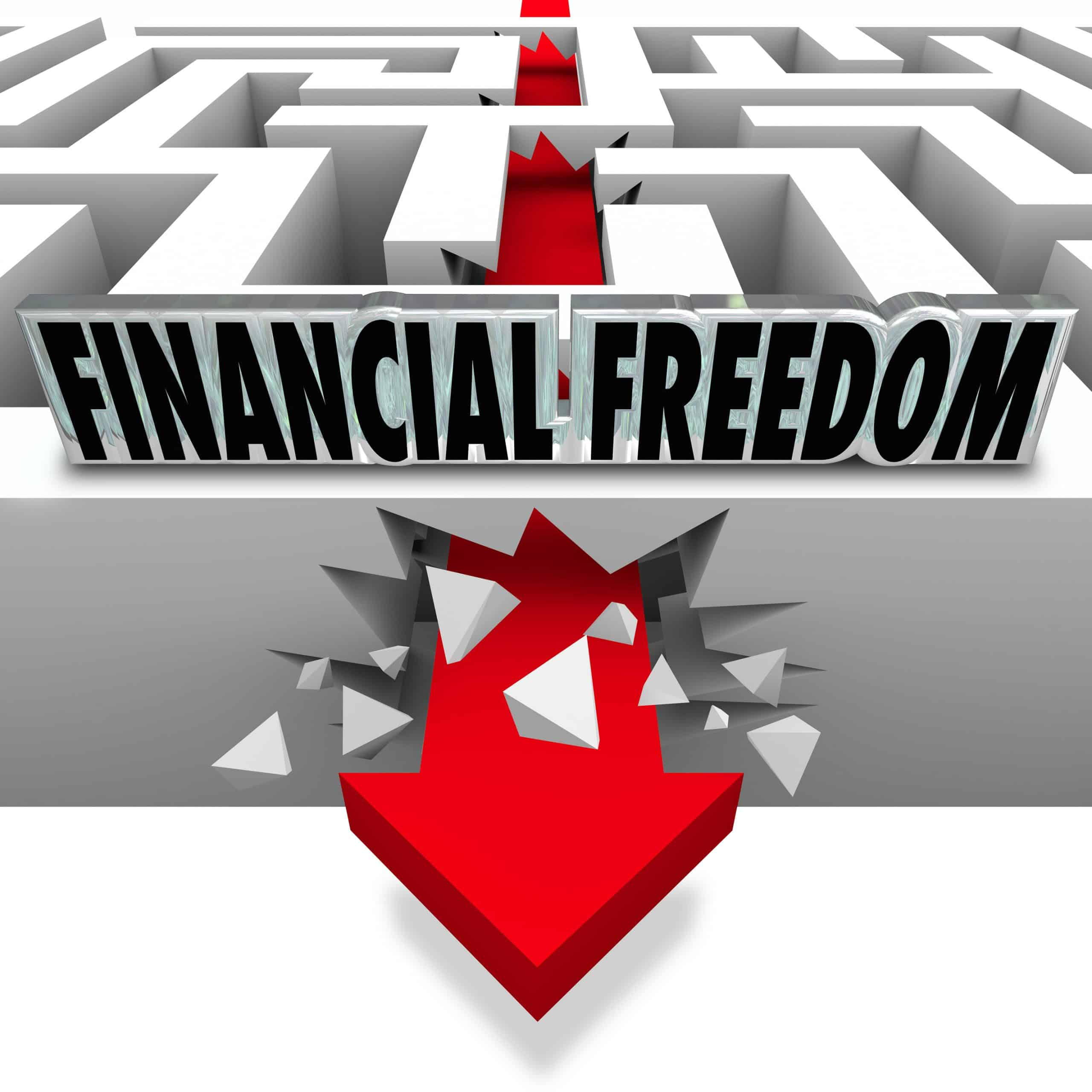 The words Financial Freedom over an arrow breaking through a maz