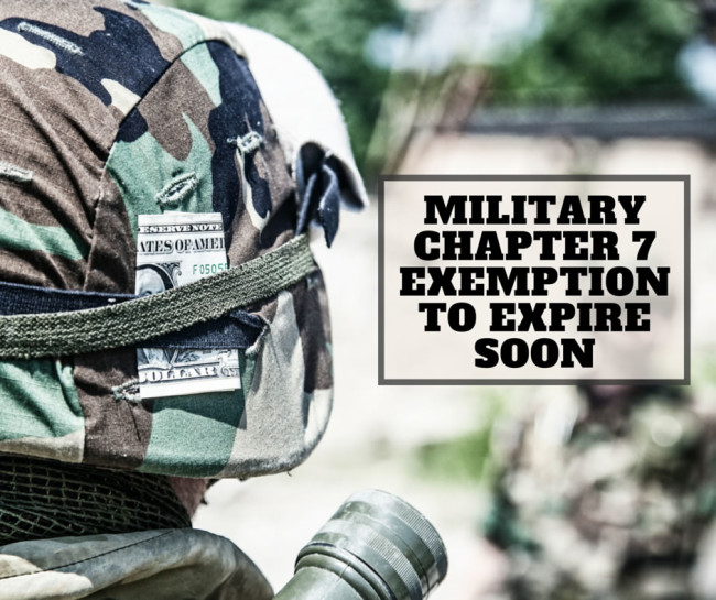 Military Chapter 7 Exemption to Expire